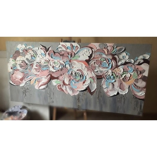 """Интерьерная картина  """"Цветы"""". Акрил.  Скульптурная паста"""